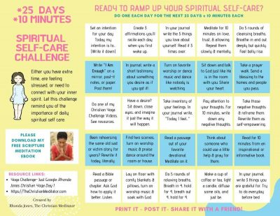 Spiritual self care challenge